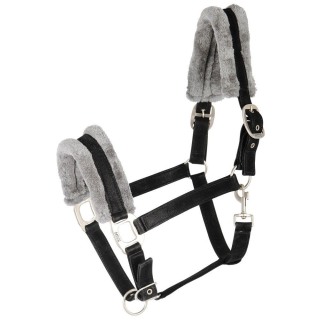 Harrys Horse Halfter Touch Fellhalfter schwarz Nubuk-Look