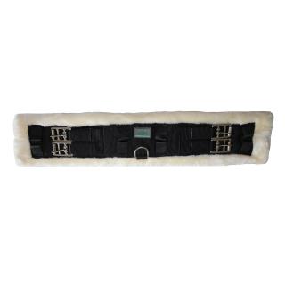 USG Kurzgurt mit Fell schwarz-beige Dressurgurt