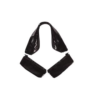 BR Kragen und Taschenklappen Tallinn mit Pailletten schwarz für Turniersakkos