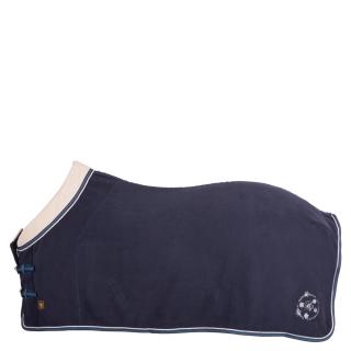 BR Passion Luxus Abschwitzdecke Fleecedecke mit Teddykragen dunkelblau 135 cm